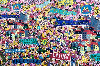 """Mur peint à Leipzig (Saxe, Allemagne) en souvenir de la """"révolution pacifique"""" de 1989"""