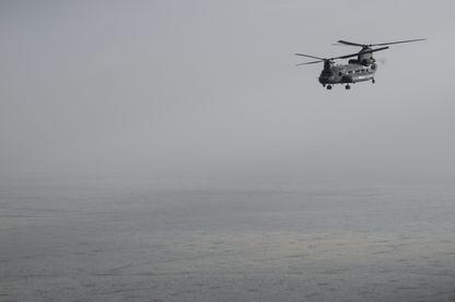 Hélicoptère britannique Chinook engagé aux côtés de l'armée française au Mali, en mars 2019.