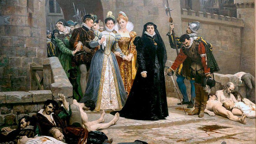 """Tableau """"Un matin devant la porte du Louvre"""" - Edouard Debat-Ponsan 1880 - (Catherine de Médicis au lendemain du massacre de la St Barthélémy)"""