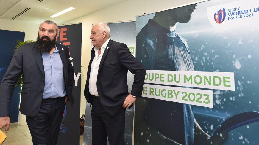 Claude Atcher, directeur général de la coupe du monde 2023 et Sébastien Chabal ambassadeur de la coupe du monde
