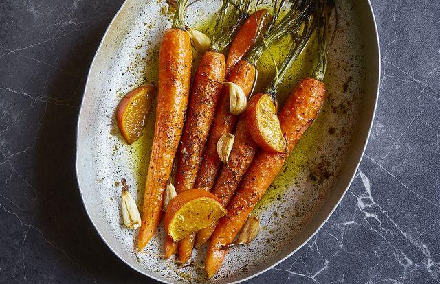 """Carottes rôties safran-mandarine, recette tirée de """"Cuisine"""" de Stéphanie Le Quellec"""