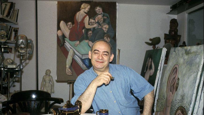 Roland Topor cocréateur de la série Téléchat dans sa maison en novembre 1996.