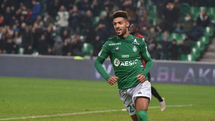Denis Bouanga, buteur au début du mois, contre Nice, à Saint-Etienne.