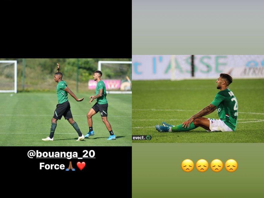 Sur Instagram, Zaydou Youssouf (image de gauche) et Denis Bouanga (image de droite) ont posté des messages évocateurs.