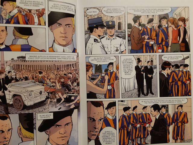 """Planche de la bande dessinée """"Les Gardiens du pape"""""""