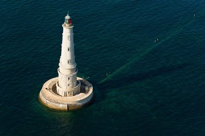 France, Gironde, Le Verdon sur Mer, Cordouan lighthouse and sandbanks in the Gironde estuary (aerial view)