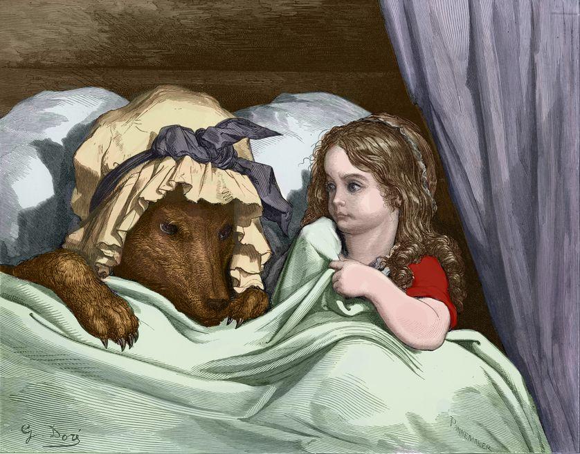 Le petit chaperon rouge au loup, gravure de Gustave Doré. Les Contes de Perrault