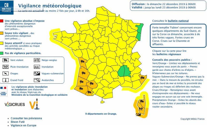 9 départements sont en vigilance orange, 8 pour vents violents, 1 pour pluie-inondation et vague-submersion