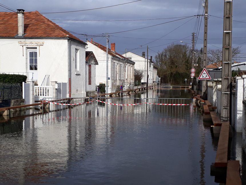 Rue Taillebourg, d'un coté le fleuve, de l'autre la rue inondée