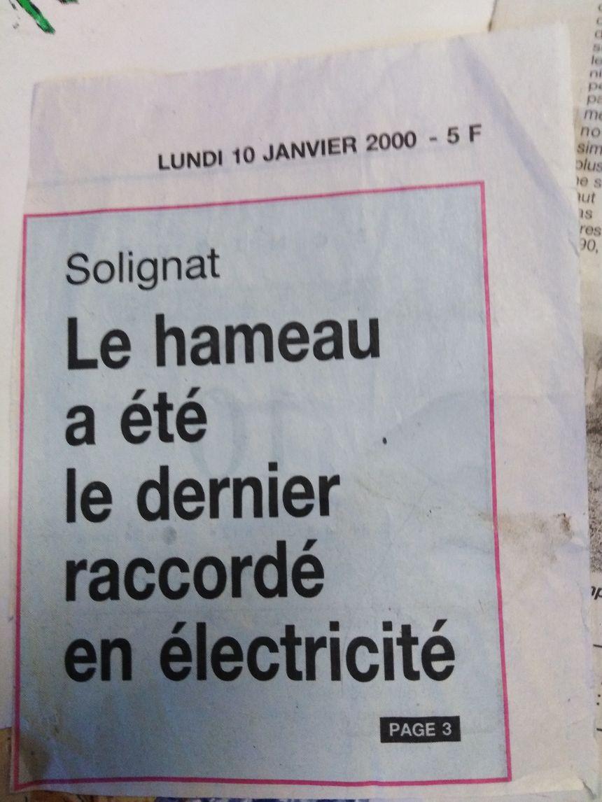 Une coupure de journal conservée par Josette, une habitante de Solignat.