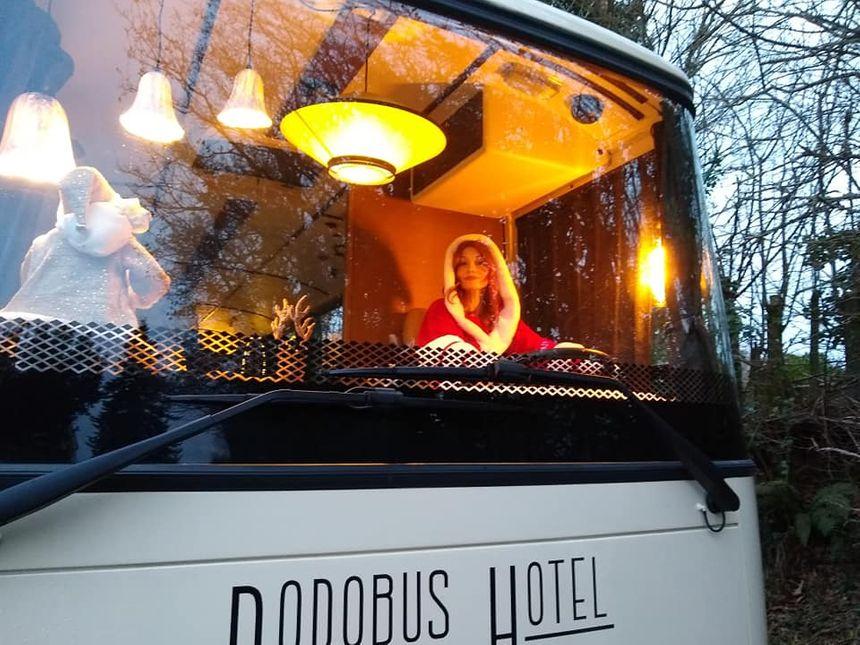 Laurence à bord du Dodobus hôtel de Noël