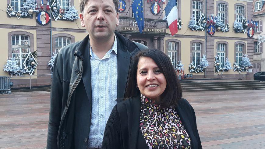 """Bastien Faudot, de la Gauche Républicaine et Socialiste (GRS) et Samia Jaber, du """"collectif citoyens 2020"""" en route ensemble pour les municipales 2020 à Belfort"""