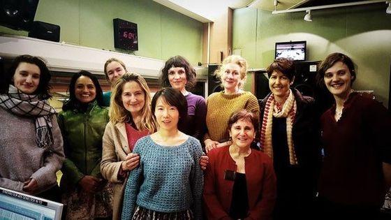 Huihui Cheng, Anne Montaron, l'ensemble De Caelis et l'équipe technique au studio 106