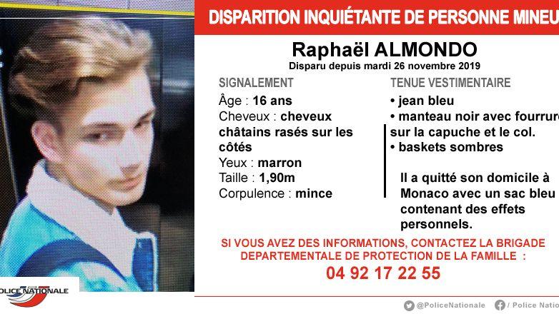 Les policiers des Alpes-Maritimes lancent un appel à témoin pour retrouver un jeune monégasque