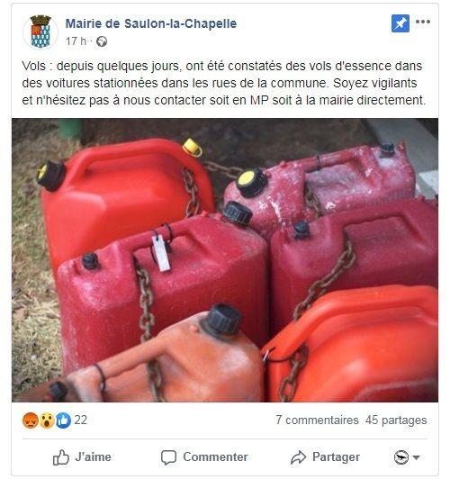 La mairie de Saulon met en garde ses administrés sur sa page Facebook