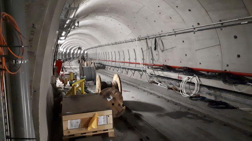 Tunnel de la ligne b du métro de Rennes à la station Sainte-Anne, octobre 2019