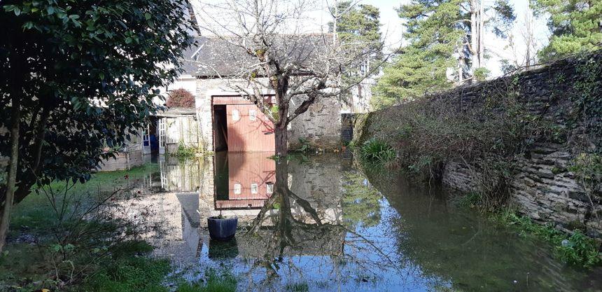 Le jardin de la maison de Louis envahi par l'eau de l'Oust