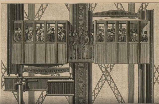 Dans l'ascenseur Edoux, entre le 2e et le 3e étage de la tour Eiffel, les passagers devaient changer de cabine en cours de route