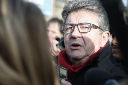 Jean-Luc Mélenchon pendant la sixième journée de manifestation contre la réforme des retraites, le 10 décembre 2019