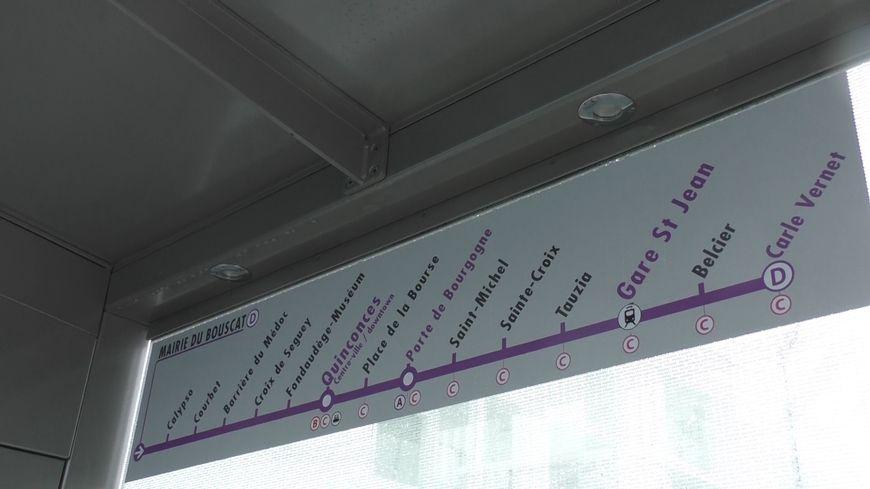 Le parcours de la ligne D de tramway à Bordeaux