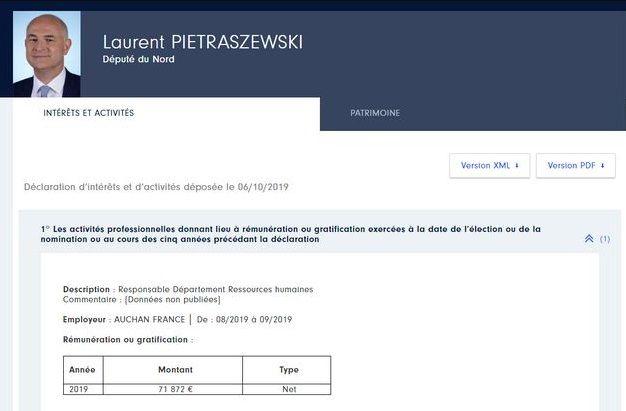 Capture de la déclaration de Laurent Pietraszewski à la Haute Autorité pour la Transparence de la Vie Publique.