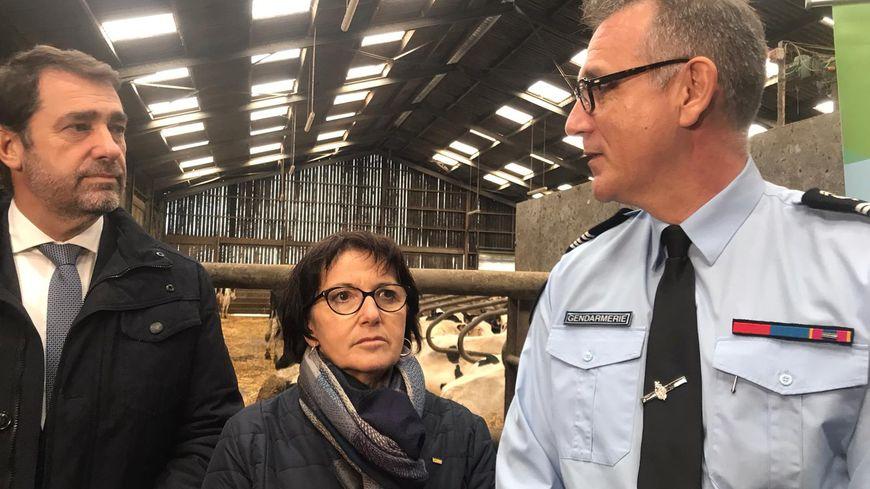 Le ministre de l'Intérieur Christophe Castaner et le colonel Bertrand Pallot ont présenté la cellule Déméter, en présence de la présidente de la FNSEA Christiane Lambert