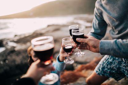 Toast alcoolisé entre amis