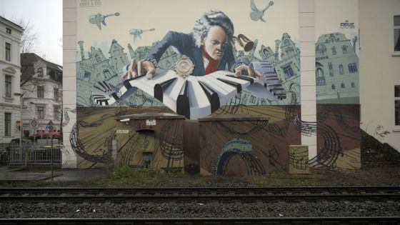 Un graffiti représentant Beethoven dans les rues de Bonn, ville natale du compositeur