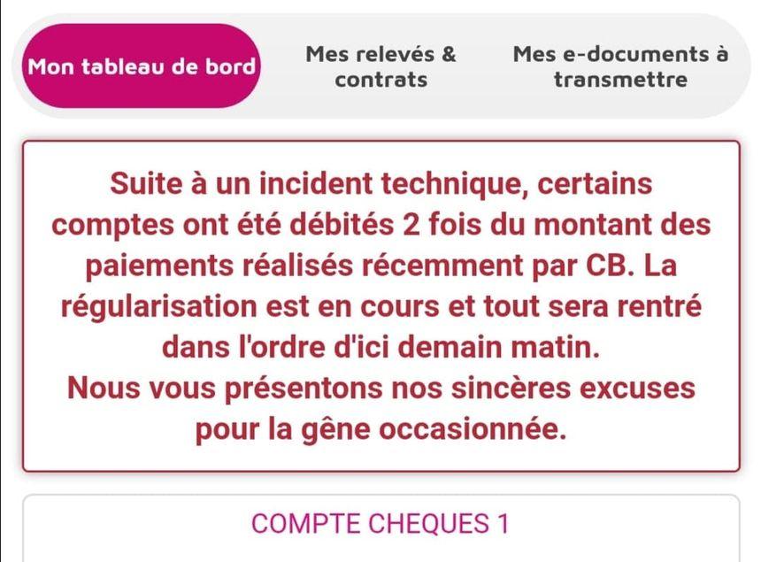 Le site et l'application du Crédit Mutuel de Bretagne affiche un message d'excuses ce lundi 23 décembre