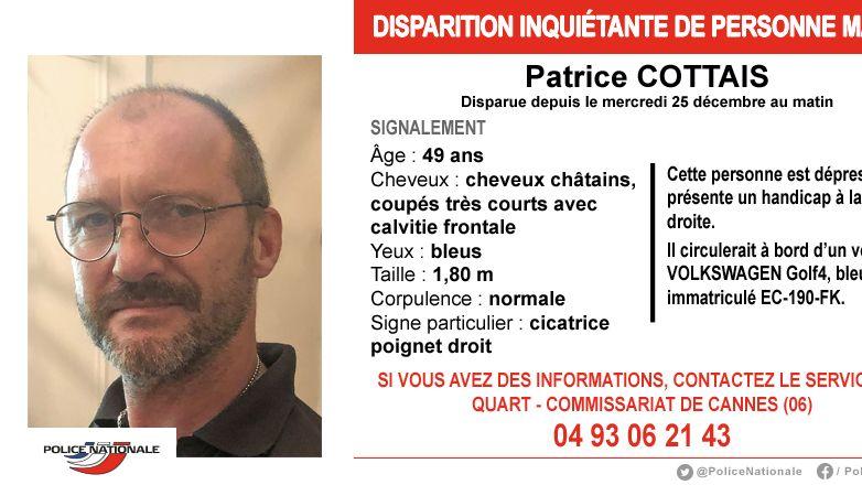 Un appel a témoins a été lancé pour retrouver cet homme disparu dans les Alpes-Maritimes