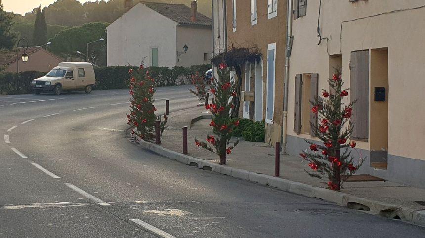 Une rue de Chateauneuf-de-Gadagne décorée avec des cyprès de Noël