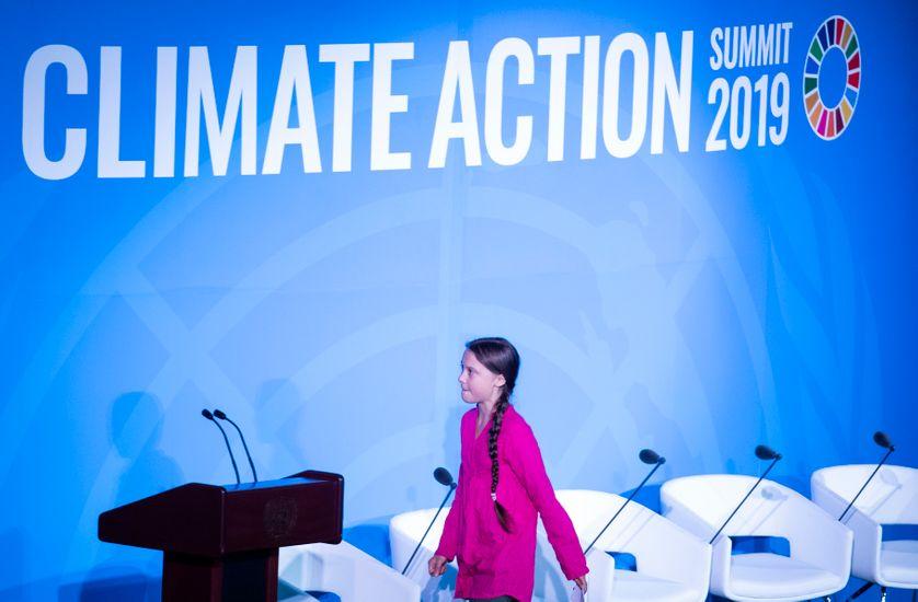 """""""Comment osez vous continuer à parler d'argent et de croissance infinie"""". Greta Thunberg lors de son discours aux Nations Unies."""
