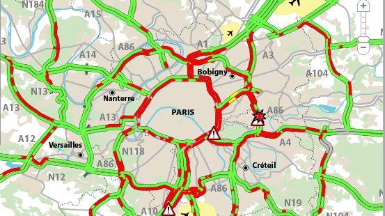 Carte des bouchons en Ile-de-France à 17h