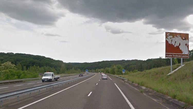 La nationale 88 est en deux-fois-deux-voies au Garric (Tarn).
