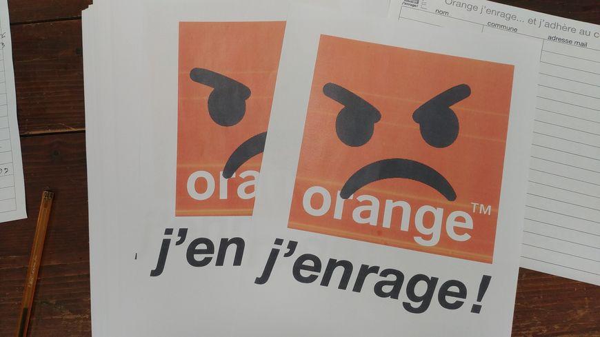 """Le logo du collectif """"Orange j'enrage"""", créé par les habitants du secteur de Saint-Julien-Labrousse."""