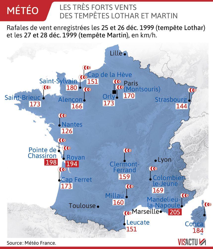 Tempêtes Lothar et Martin : des rafales de vent allant jusqu'à 200 km/h
