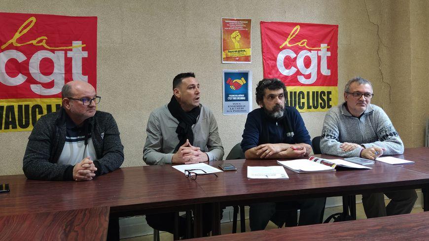 De gauche à droite : Thierry Sobiraz, David Tesio, Jean-François Chamayou et Christophe Dainese de la CGT Vaucluse
