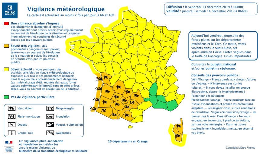 14 départements du Sud-Ouest ainsi que la Corse sont en vigilance orange ce vendredi matin.
