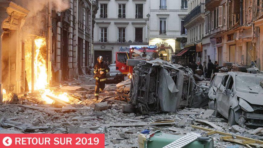 Dégats provoqués par l'explosion de gaz de la rue de Trévise à Paris le 12 janvier 2019