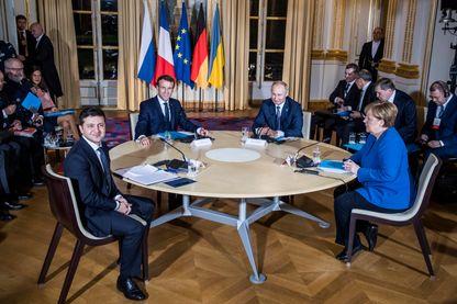 Les quatre dirigeants français, allemand, russe et ukrainien au sommet de Paris sur la paix en Ukraine, 9 décembre 2019
