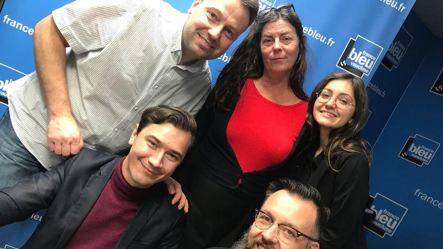 Simon CALAMEL, Nathalie MAZET, Lucie FAVIER (la voix des jingle !), Paulin REYNARD et Christian CHAZALON dans Aqui sian bèn !