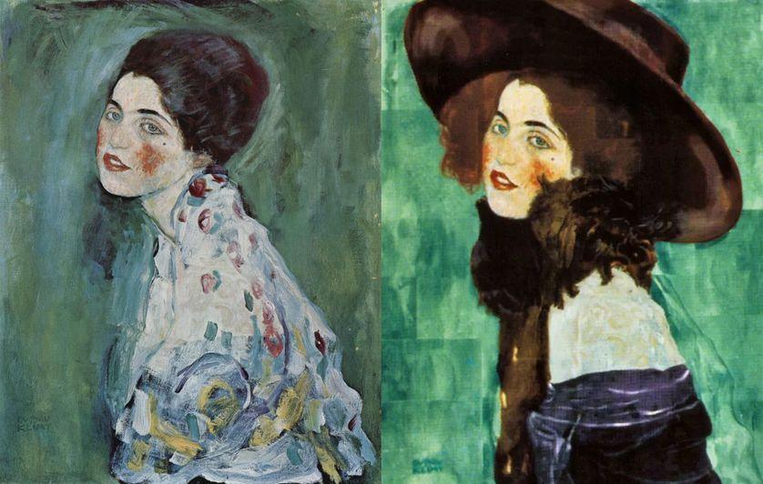 """Le portrait original et très longtemps insoupçonné peint en 1912 (à droite) et le nouveau datant de 1916-1917 (à gauche) : il s'agit du seul """"double portrait"""" connu de Gustav Klimt."""