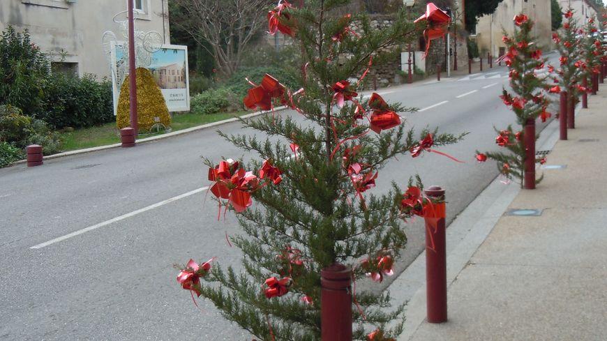 Des cyprès de Noël décorent à moindre coût les rues de Chateauneuf-de-Gadagne