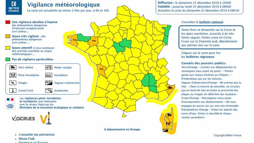 Carte vigilance Météo France