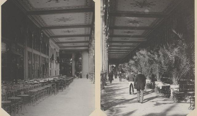 A gauche, intérieur de la Galerie des Restaurants (aile des Arts libéraux) - A droite, le Restaurant Léon - 1889 - Hippolyte Blancard