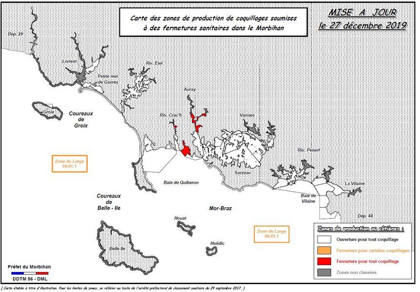 La carte des zones de pêche soumises à fermetures sanitaires.