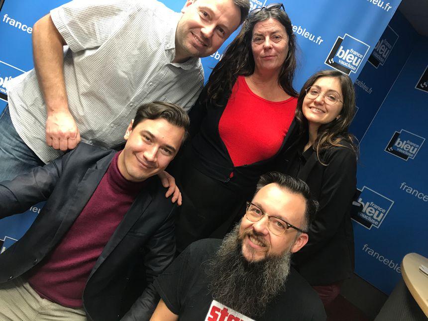 Simon CALAMEL, Nathalie MAZET, Lucie FAVIER (la voix des jinlge !), Paulin REYNARD et Christian CHAZALON dans Aqui sian bèn !