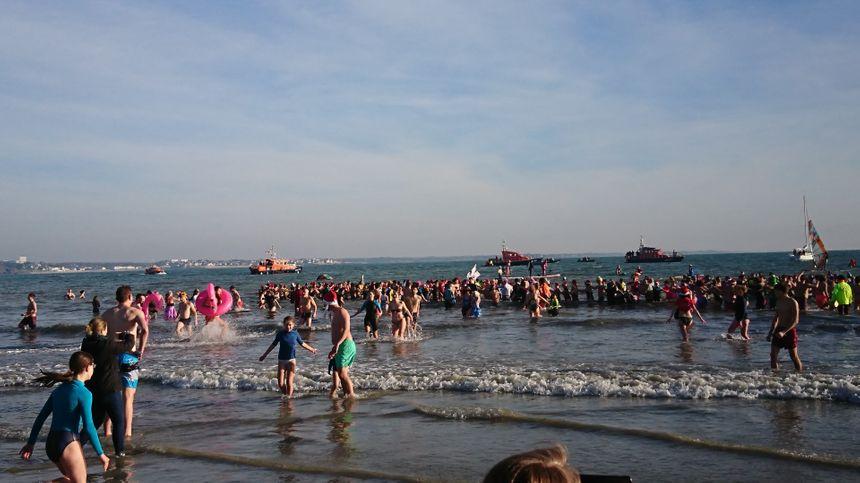 Beaucoup de baigneurs pour ce bain des otaries à Fouesnant