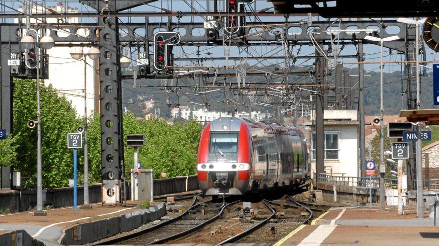 Entrée d'un TER en gare de Nîmes