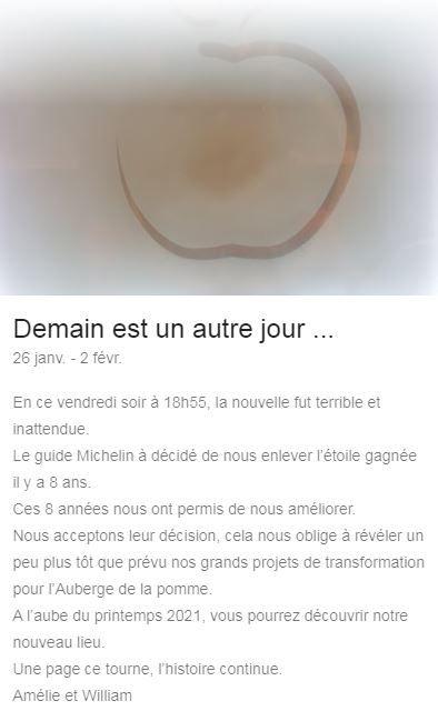 Capture d'écran du communiqué de l'Auberge de la Pomme.